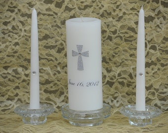 Unity Candle Silver  Crystal Cross wedding date