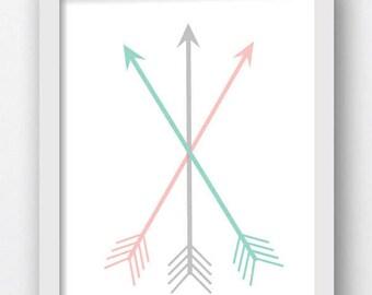 Arrow Art Print, Mint Arrows, Coral Arrows, Gray Color Arrow Printable Arrows, Digital Download Arrows  Crossed Arrows, Mint Green Arrows,