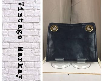 Markay 1960's Vintage Navy Blue Leather flat clutch
