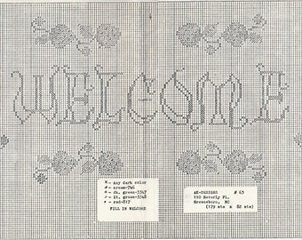 Counted Cross Stitch Chart Welcome Strawberry Accents AK Designs 1970s