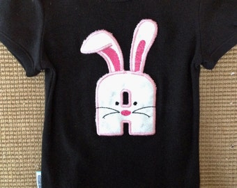 Bunny Initial Tee Easter Spring