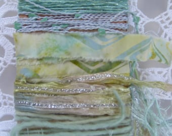 MINT CONDITION  Fiber Art Yarn bundle/12 yds/mint green,lime green yarn/embellishment trim/scrapbook/junk journal/cardmaking/mixed trim pack