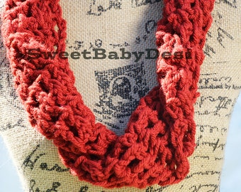 Red Infinity Scarf, Crochet Adult Chunky Twisted Acrylic Woold Blend Cowl