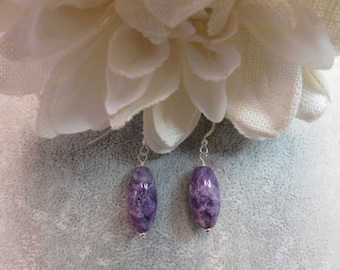 Charoite Earrings with Sterling Silver Ear Wires