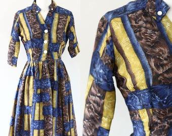1950s marbled shirt dress // summer dress // vintage dress