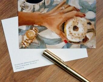Postcard set of 3 //  Midmorning Snack // Frau Süß series // From Original Acrylic Painting // Food Art // Cynthia Katz
