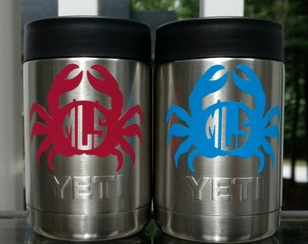 Personalized yeti colster, Maryland crab decal, Personalized yeti cups, Yeti Monogram, Yeti Monogram for men, Crab decal