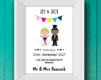 Personalised Wedding Stick People Print! Personalised Wedding Print! Personalised Wedding Gift!