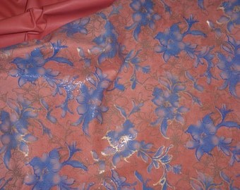 """Leather 8""""x10"""" Asian Blue Gold Metallic Tipped Flowers on SALMON PLONGE Reversible Cowhide THIN 1.5 oz / 0.6 mm PeggySueAlso™"""
