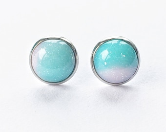 Turquoise blue candy ball stud earrings, robins egg blue studs, stainless steel anti allergy earrings, glittery aqua studs