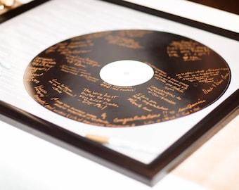 YOUR Lyrics Record Wedding Song Guest Book Alternatives /First Dance Lyrics / Couples Shower Guestbook/Vinyl Record Guest Book -20x24