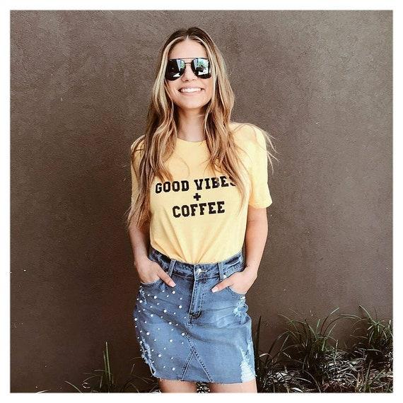 GOOD VIBES + COFFEE Yellow Gold Tee, Good Vibes, Good Vibes Only, Coffee tee, Coffee shirt, Coffee gifts, Coffee Tshirts