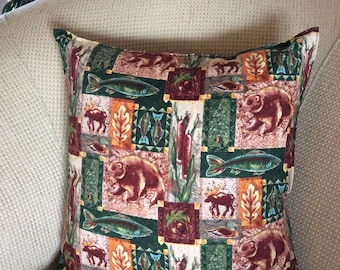 Wilderness Pillow Cover 16x16 -  Bear and Moose Pillow Cover - Great Outdoors Pillow Cover