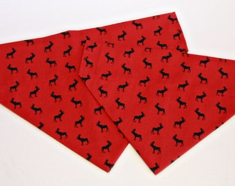 Red Canadian Moose Dog Bandana/ Cat Bandana/ No Tie Bandana