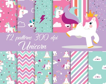 Unicorn digital paper, Party Unicorns, Magical Unicorn scrapbook papers, pastel papers, Rainbow digital paper, Unicorn clipart, Clouds paper