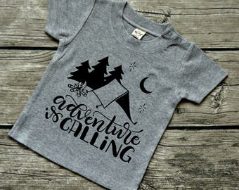 Adventure is Calling - Baby boys or Baby Girls  Infants Camping Vinyl Graphic Tee Shirt Multiple Colors Sizes 6-24 months