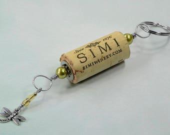 Dragonfly Yellow/Green Wine Cork Keychain Key Ring Fob #K117