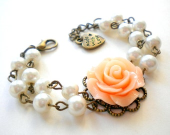 Flower Girl Jewelry Peach Bracelet Flower Girl Bracelet Baby Girl Jewelry Flower Girl Gift Pearl And Flower Bracelet Children Jewelry