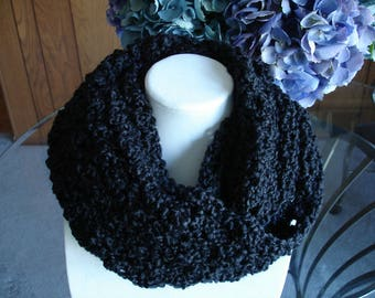Black Cowl Scarf, Infinity Scarf, Crocheted Scarf, Winter Scarf