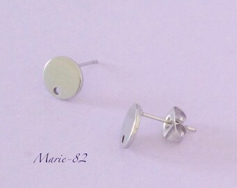 Nails / round - stainless steel earrings