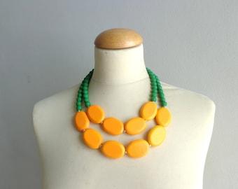 Orange green statement necklace
