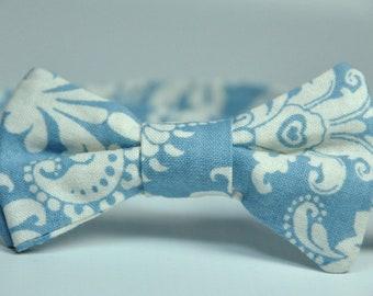 Boy's Bow Tie Powder Blue Damask