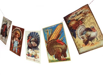 Vintage Thanksgiving Banner - Thanksgiving Garland - vintage Thanksgiving postcards - photo reproductions on felt