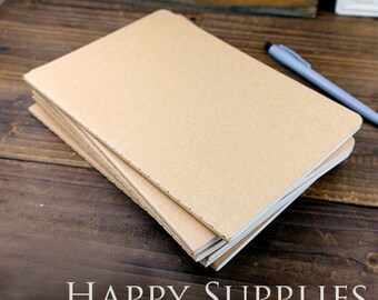 BULK 50 (22K /A5/14x21cm) Blank Kraft Notebooks / Express Post (NO LOGO or Marks on Cover)