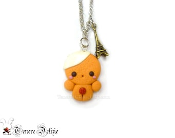 French gingerbread man necklace - kawaii polymer clay necklace