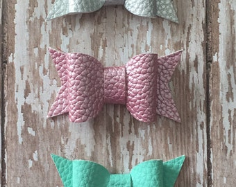 Silver, Pink, Mint Green Faux Leather set of 3 Hair Bows, Hair Clips, Babies, Toddlers, Girls