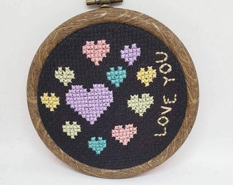 Love You cross stitch in 9cm embroidery hoop // Hearts // Valentine's gift // Romantic gifts