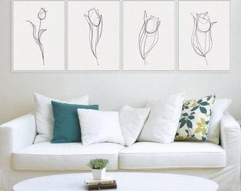 Flower Print, Tulip Print, 4 Set Art Prints, Flower Wall Art, Set of 4 Prints, Flower Print Set, Tulips, Flower Art Print, Set of 4 Wall Art