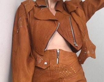 80s leather vintage set high waisted skirt and cropped jacket