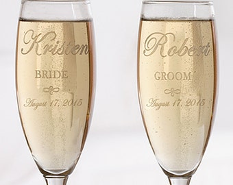 The Bride & Groom Personalized Flute Set