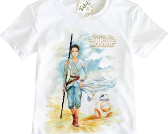 REY and BB-8  Star Wars: The Last Jedy The Force Awakens Girl's T-Shirt By Takila