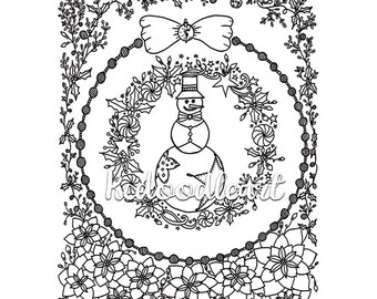 Instant Digital Download - Christmas Coloring Page - Snow Man