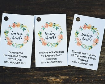 Floral Wreath Baby Shower Tag Template, Editable Thank You Favor Tags, , Instant Download PDF