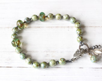 Green Hand Knotted Bracelet, Czech glass beaded bracelet, spring colors, stacking bracelet