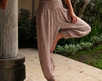 Ladies Yoga Pants - Lilac or Latte Leaf Print Hippie Pants - Long Trendy Beach Pants