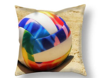 Volleyball Pillow Cover-Beach Volleyball Throw Pillow-Beach Decor-Volleyball Outdoor Pillow Cover-Couch Pillow Cover-Sports Room Decor