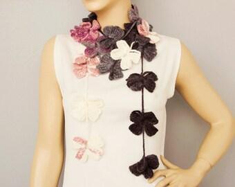Scarf ,crochet lariat scarf ,flower scarf
