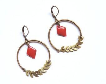 boucles d'oreilles - Lauriers (rouge)