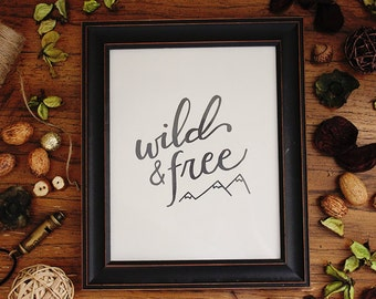 Wild and free printable, 8x10 print, woodland nursery print, instant download, nursery wall decor, black and white print, adventure nursery