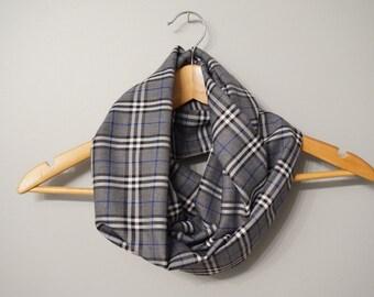 Sale - Infinity Scarf - Winter Infinity Scarf - Grey Plaid Infinity Scarf, Fashion Scarf