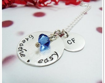 Hand Stamped Cystic Fibrosis Necklace - Breathe.Easy  - Awareness for Cystic Fibrosis Sterling Silver