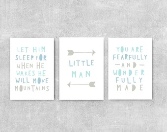 Boy Nursery Decor, Baby Boy Gift, Blue And Grey Nursery Wall Art, Boy