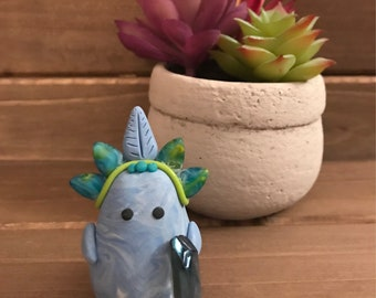 blue peacock inspired little leafie with crystal and beads, little leafies collection, nature animal figurine, clay figure handmade