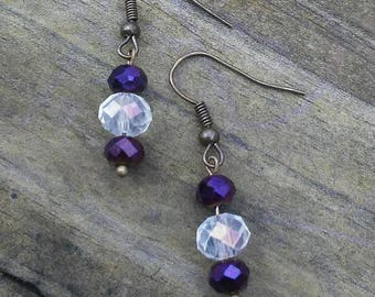 Crystal Beaded Dangle Earrings, Purple and White Earrings, Vintage Style Boho Statement Earrings, Mother's Day Gift