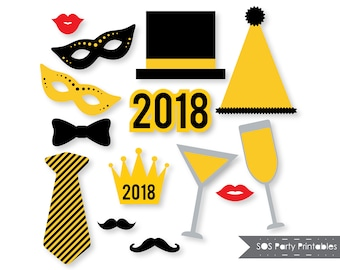 New Years 2018 Photobooth Props, New Years Eve Party, New Years Printables, New Years Photo booth props, Printable Props, Instant Download