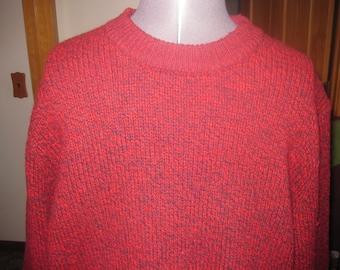 Vtg LG Red black blended knit L L Bean Sweater 100 percent lambswool free ship